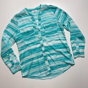 Calvin Klein Turquoise Blue Blouse Medium Roll Tab